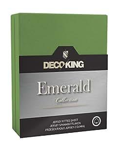 DecoKing 17852 Spannbettlaken 160 x 200 - 180 x 200 cm Jersey 100% Baumwolle Boxspringbett Spannbetttuch Emerald Collection, grün