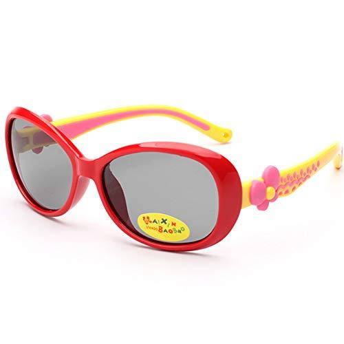 QYY Kids Sports Style Polarized Sonnenbrillen Silikagel Flexibler Rahmen für Jungen Mädchen,Red