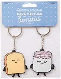 Mr.Wonderful Tostada y Mermelada Set de 2 Llaveros de Caucho