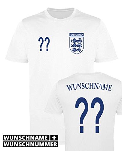 Comedy Shirts England Trikot - Wunsch - Herren Trikot - Weiss/Navy Gr. L