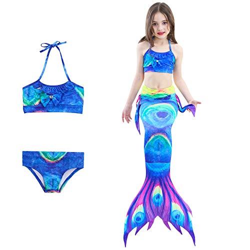 DUBAOBAO Girl Mermaid Tail zum Schwimmen und Single Point Fish - Cosplay Kostüm Bikini, 3-12Y,2,130