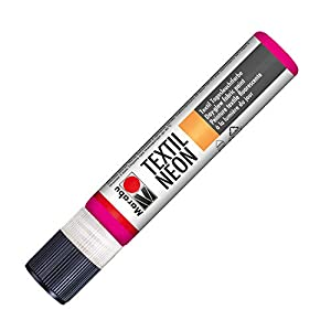 Marabu 18080009334 Neon Liner - Pintura Textil (Base de Agua, Resistente a la Saliva, Tacto Suave, 25 ml), Color Rosa