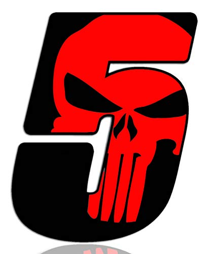 Número 5 Punisher Calavera Vinilo Adhesivo Pegatina Coche Auto...