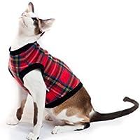 Kotomoda ropa para gatos suéter tartán rojo (S)