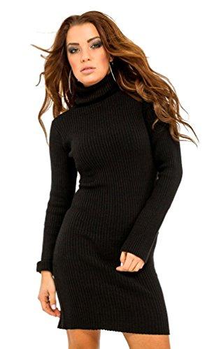 Glamour Empire. Femme Robe Moulante en Maille côtelée. Robe Pull à col roulé 417 (Noir, 36-40, One Size)