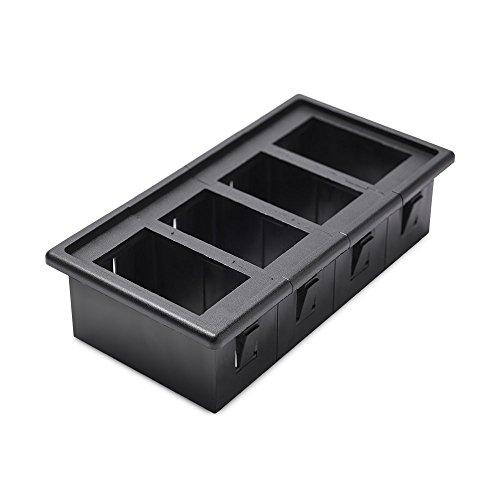 4-panel-gehäuse (REFURBISHHOUSE 4 Stueck Wippschalterhalter Panel Gehaeuse Kit feuerfest ABS schwarz)