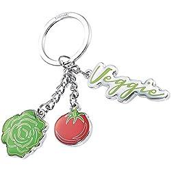 TROIKA Schlüsselanhänger VEGGIE - KR16-10/CH - 3 Charms: Salatkopf, Tomate und Veggie-Plakette - Vegetarier, Veganer, Gesund essen - Gesundheit - Metall/Emaille - das Original von TROIKA