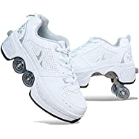 AIAIⓇ Deform Wheels Skates Roller Shoes Casual Sneakers Walking Skates Hombres Mujeres Runaway Four Wheeled Skates, White
