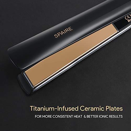 Plancha de Pelo,  Plancha de Titanio Ultra Fina de 1 Pulgada,  Temperatura Ajustable de 8 Pasos y Apagado Automático en 60m,  Doble Voltaje