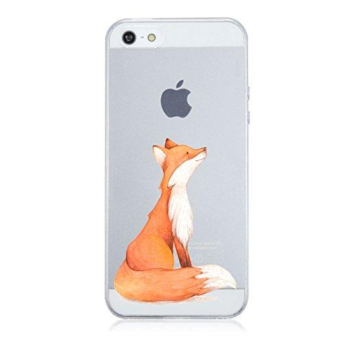 iPhone SE/5S/5 Hülle Caler® Weiche flexible Silikon-Handy-Hülle Transparente Ultra Slim TPU dünne stoßfeste mit Motiv Rundum-schutz Tasche Etui Case Cover (fuchs)