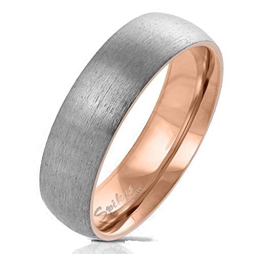 Paula & Fritz Gebürsteter Titan-ring Titanium 6mm breit Damen-ring Verlobungs-ring Freundschaftsring Herrenring Partnerring roségold 66 (21)