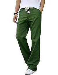 b69fd972d75a0c Pantaloni Uomo Casual Pantalone di Lino Traspirante Vita Elastica per Corso  Spiaggia Outdoor
