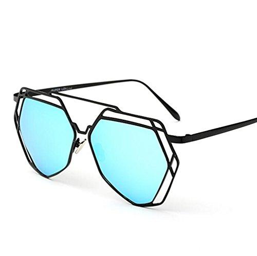 GOUQIN Sonnenbrille Neue Sonnenbrille Persönlichkeit Metal Box Retro Gravur Sonnenbrillen Mode Die Schneiden Der Diamond Gläser, Black Box/Blue Chip