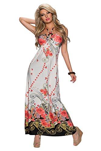 4639 Fashion4Young Damen Neckholder Maxikleid im Bandeau-Look maxidress Kleid verfügbar in 3 Farben Lachs Multicolor