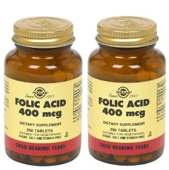 Folacin (Folic Acid) 400 mcg Tablets - 250 by SOLGAR