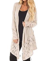 DEELIN Women Fashion Lace Patchwork Long Sleeve Casual Pure Color Cardigan  Coat 648342f16f3