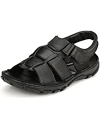 Fucasso Men's Leather Black Outlander Sandals