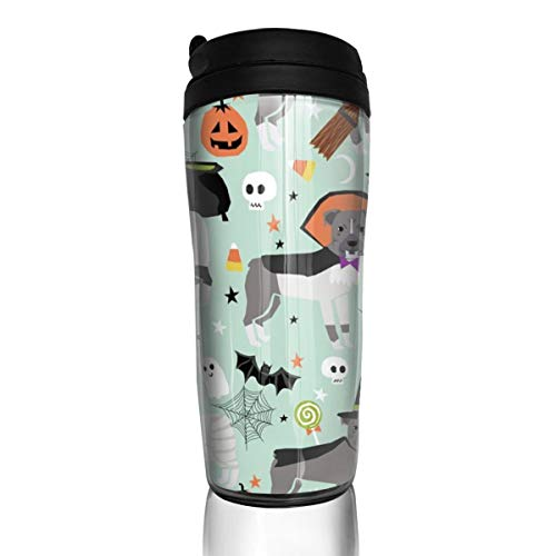 Pitbull Halloween-Kostüm Hund Vampir Geist Mummy Light_17411 Kaffeetasse 340 ml auslaufsicher Flip Deckel Wasserflasche Umweltschutz Material ABS