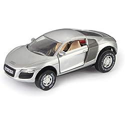 Darda 50373 - Darda Auto Audi R 8 mit aufklappbare Türen, silber, ca. 9 cm, Rennauto mit auswechselbaren Rückzugsmotor, Fahrzeug mit Aufziehmotor für Kinder ab 5 Jahre, Aufziehauto für Dardabahnen