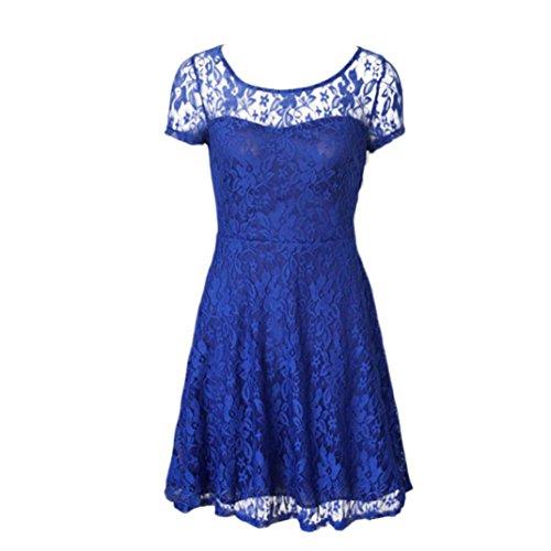 Robe, Kolylong® Floral Dentelle Sexy Robe FéMinine Casual O-Neck Robe De SoiréE Bleu