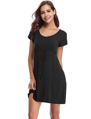 Aibrou Damen Sommer Modal Nachthemd Rundhals Nachtkleid Knielang Umstandskleid Stillnachthemd Schwarz XL