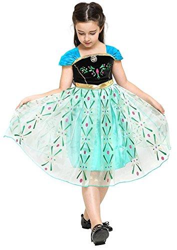 te Größe 130 - 5 - 6 Jahre - Kostüm - Karneval - Halloween - Anna - Mädchen - Grüne Farbe - Frozen ()