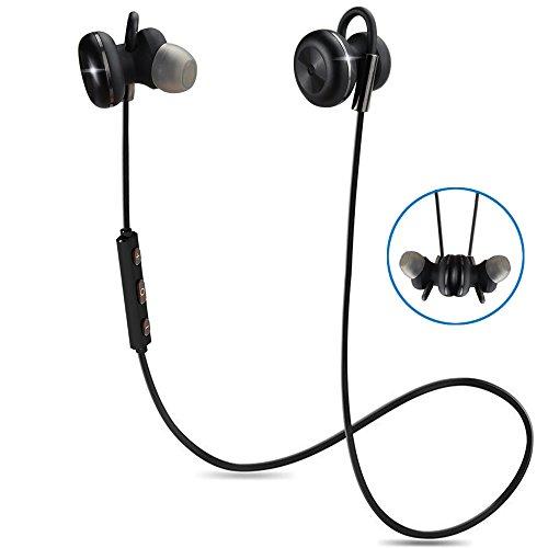 Bluetooth Kopfhörer Bovon Kabellose Magnetische Attraktive IPX4 Spritzwasserfest Sport Headset Stereo In-Ear Ohrhörer mit Mikrofon für iPhone, iPad, Samsung, Nexus, HTC und mehr (schwarz)