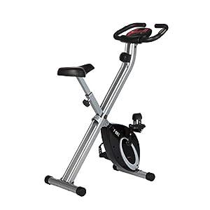 Ultrasport F-Bike, Cyclette da Allenamento, Home Trainer, Bici da Fitness Pieghevole con Computer di Allenamento e Sensori delle Pulsazioni, Nero