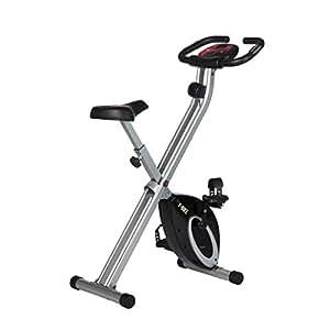 Ultrasport Vélo d'appartement F-Bike , Vélo de fitness pliable avec console et détecteurs manuels de pouls, Noir