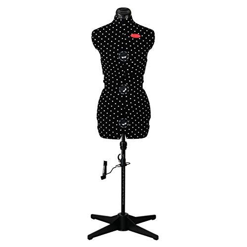 """611752 Schneiderpuppe """"Prymadonna Polka Dots"""" in schwarz-weißem Pünktchen-Design, dreh- und höhenverstellbar, Größe S (36-42), inkl. Rockabrunder mit Stecknadelfixierung, integriertes Nadelkissen"""