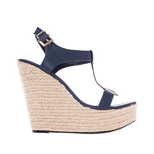 Andres Machado. AM5129.Chaussures Compensées T-Bar en Soft. Petites et Grandes Pointures 32/35-42/45. Marino