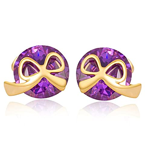 YAZILIND Fashion Bow Tie Stud Earrings with Purple Cubic Zirconia Gold Plated for Women