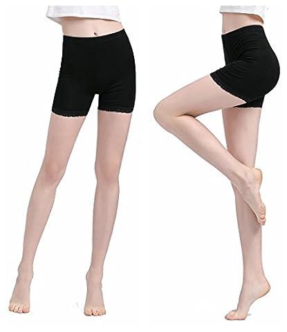 Vinconie Femme Noir Modal-Spandex Court Leggings Dentelle Mince Slim Fit Yoga Gym Shorts 2 Pack