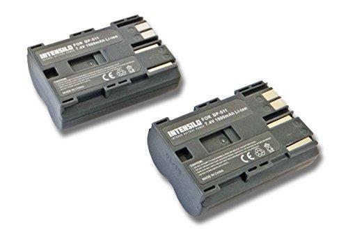 INTENSILO 2X Li-Ion Akku 1900mAh (7.4V) für Kamera Camcorder Video Canon Optura-Serie, Powershot-Serie, ZR-Serie wie BP-508, BP-511, BP-535. -