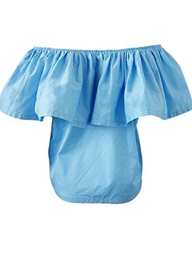 Simplee Apparel le donne dalla spalla senza spalline quinta raccolta di cotone sopra la camicia camicetta decorativo Blu