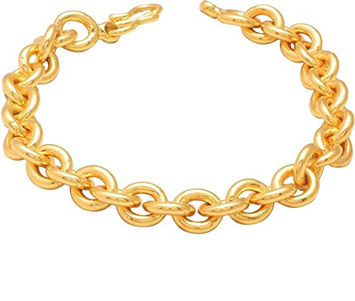 DzineTrendz Gold plated Round link Rolo chain bracelet for Men