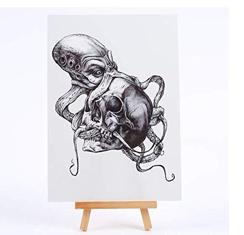 ruofengpuzi Horror-Mörder Octopus Temporäre Tätowierung Männer des Schädel Wasserdicht Temporäre Tätowierung-Aufkleber Fake Tattoo Sleeves