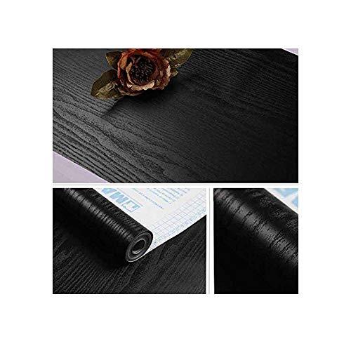 (jlcorp matt schwarz Maserung Holz strukturiert Kontakt Papier Vinyl Folie selbstklebend Tapete Regal Liner Schublade peel-stick zinntheken Aufkleber 10ft 3Meter)