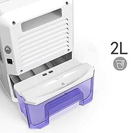 Deumidificatore Portatile Aiho Compatto Serbatoio da 2000ML Tasso di Assorbimento dell'Umidità di 600mL/24h Funzionamento Funzionamento Silenzioso Elettrico Deumificatori