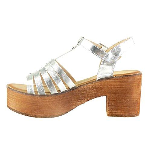 Angkorly Damen Schuhe Sandalen - T-Spange - Plateauschuhe - Multi-Zaum - Nieten - Besetzt - Wooden Blockabsatz High Heel 7 cm Silber