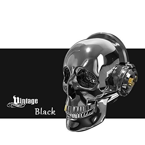 LIUMSJ Mini Outdoor Lautsprecher Schädel Kopf Lautsprecher Blenden LED Feuer Tragbare Bluetooth Bass Stereo Für Halloween Einzigartiges Design (Color : Black)