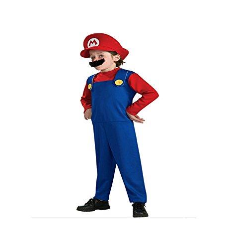Overall Kostüm Mario - Unbekannt DS (GR. 92-128) KOSTÜM HELLOWEEN FASCHING *MARIO - ROT BLAU* 3 TEILE- OVERALL BART MÜTZE (128)