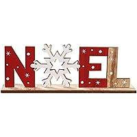 mi ji Ornements Lettres en Bois avec Flocon de Neige Boule de Noël avec l'impression de Table Décoration de Noël Décoration Flocon de Neige Noel Style 1 Pc