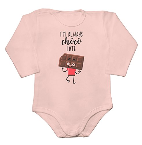 Rosa Body Mousse (I'm Always Choco Late Scared Chocolate Bar Baby Long Sleeve Romper Bodysuit Babyspielanzug XX-Large)