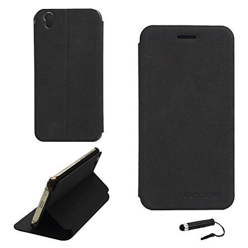 Tasche für UMIDIGI London Hülle, Ycloud PU Ledertasche Metal Smartphone Flip Cover Case Handyhülle mit Stand Function Schwarz