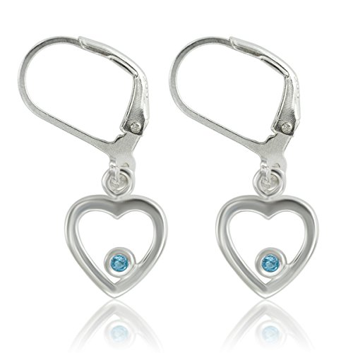 DTPsilver - Damen - Ohrringe Ohrhänger 925 Sterling Silber Rhodium mit Sehr Klein Schweizer Blautopas Herz