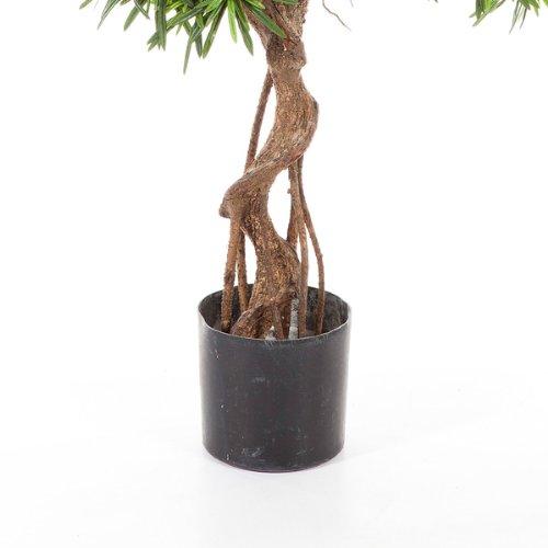 Set 2 x Künstlicher Podocarpus mit Kunststamm, spiralförmig, 5800 Blätter, 160 cm – Podocarpus Pflanze / Kunstbaum – artplants