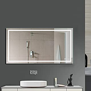Anten LED Bathroom Illuminated Mirrors 800 x 600 mm Makeup Vanity Mirror with Lights 18W 6000K Cool White, Wall Mounted Light Up Mirror for Bathroom Bedroom Toilet