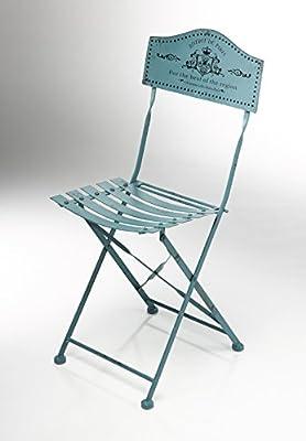 Kobolo Metallstuhl Gartenstuhl Vintage Nostalgie Stuhl aus Metall braun türkis Höhe 88 cm von Kobolo bei Gartenmöbel von Du und Dein Garten