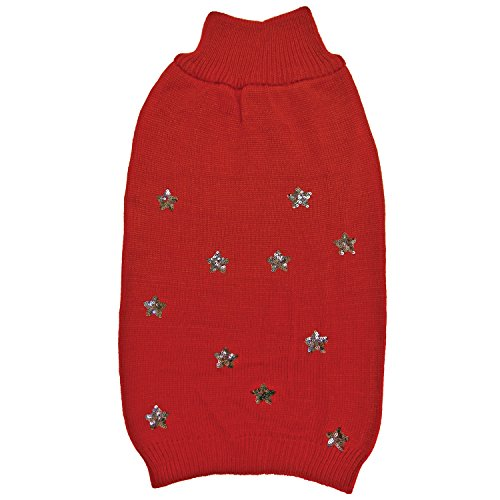 Fashion Pet 602323Pailletten Sterne Pullover, XS, rot (Pullover Mock Red Turtleneck)
